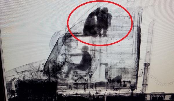 Emigranci ukryci w nadbudówce ciężarówki fot rentgenowska